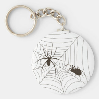 Spiders on a web basic round button keychain