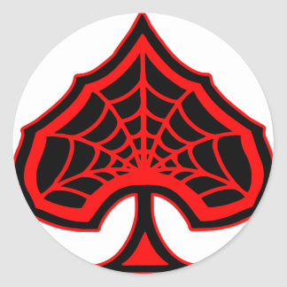 Spiderweb Ace Of Spades Classic Round Sticker