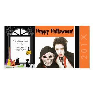 Spiderweb Door Family Halloween Photocard Card