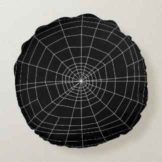 spiderweb en negro cojín redondo