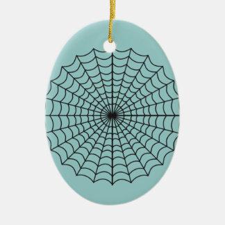 Spiderweb Haunted Halloween Ceramic Ornament