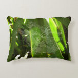 Spiderweb in Tropical Leaves Green Nature Decorative Pillow