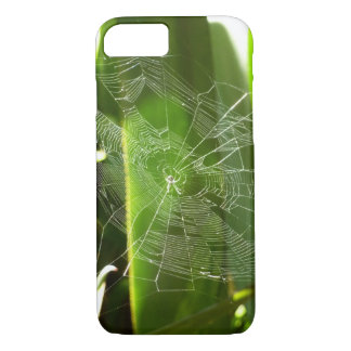Spiderweb in Tropical Leaves Green Nature iPhone 7 Case