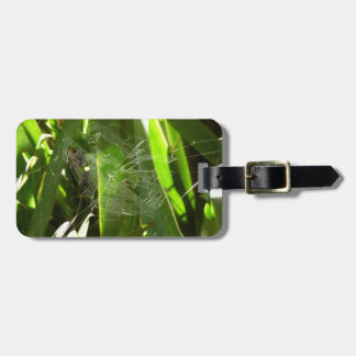 Spiderweb in Tropical Leaves Green Nature Luggage Tag