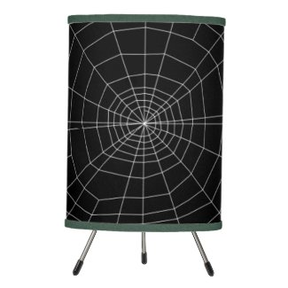 spiderweb on Black Tripod Lamp