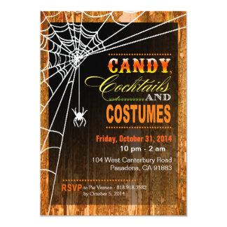 Spiderweb on Tree Bark Halloween Party orange Card