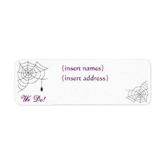 Spiderweb que casa etiquetas del remite etiqueta de remitente