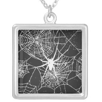 spiderweb. silver plated necklace