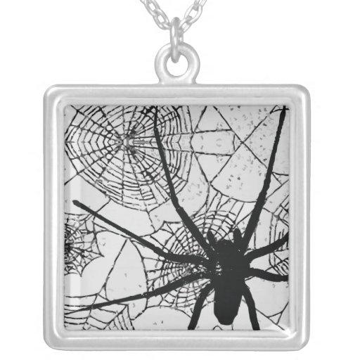 spiderweb. square pendant necklace