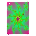 Spiderweb verde y magenta multicolor del fractal iPad mini carcasas