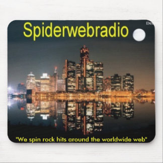 """spiderwebradiodet, """"We spin rock hits around th... Mouse Pad"""