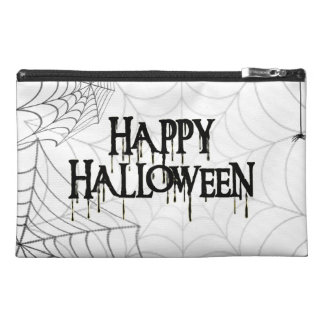 Spiderwebs And Happy Halloween Creepy Text Travel Accessories Bags