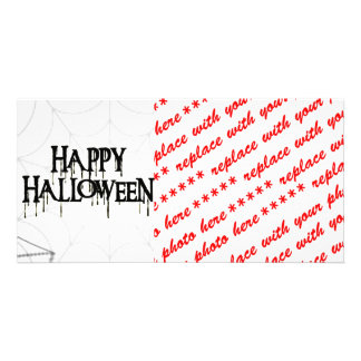 Spiderwebs And Happy Halloween Creepy Text Card
