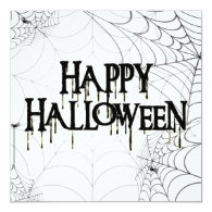 Spiderwebs And Happy Halloween Creepy Text 5.25x5.25 Square Paper Invitation Card