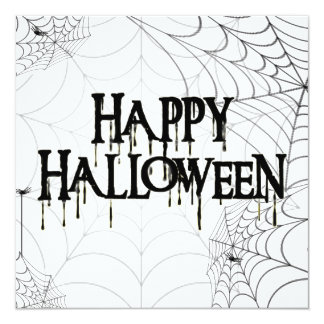 Spiderwebs And Happy Halloween Creepy Text Personalized Announcements