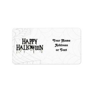 Spiderwebs And Happy Halloween Creepy Text Labels