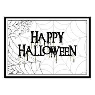 Spiderwebs And Happy Halloween Creepy Text Large Business Card