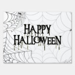 Spiderwebs And Happy Halloween Creepy Text Lawn Signs