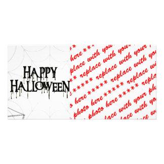 Spiderwebs And Happy Halloween Creepy Text Photo Card