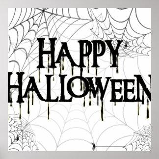 Spiderwebs And Happy Halloween Creepy Text Poster