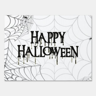 Spiderwebs And Happy Halloween Creepy Text Sign