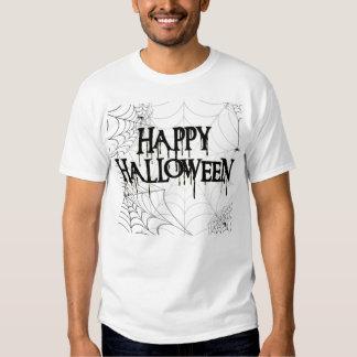 Spiderwebs And Happy Halloween Creepy Text Tshirts