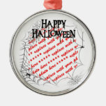 Spiderwebs en el marco de la esquina de la foto de ornamento para arbol de navidad