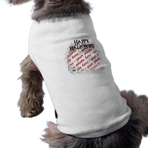 Spiderwebs in the Corner Halloween Photo Frame Doggie T-shirt