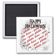 Spiderwebs in the Corner Halloween Photo Frame 2 Inch Square Magnet