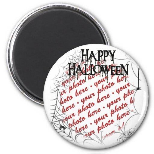 Spiderwebs in the Corner Halloween Photo Frame 2 Inch Round Magnet