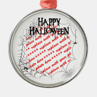 Spiderwebs in the Corner Halloween Photo Frame Metal Ornament