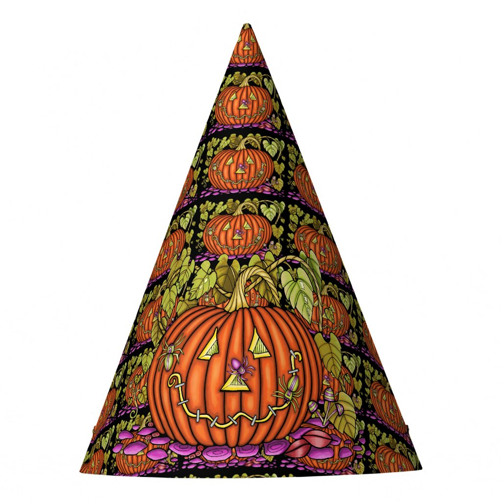 Spidery Jack O'Lantern Party Hat