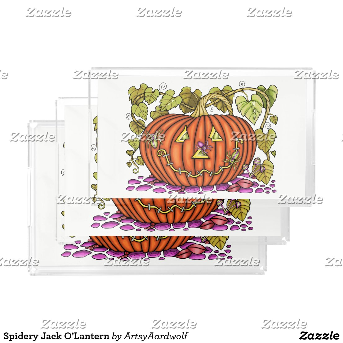 Spidery Jack O'Lantern Serving Tray