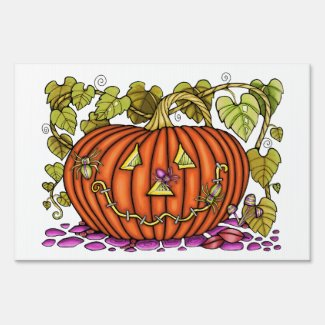 Spidery Jack O'Lantern Yard Sign