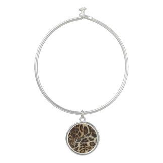 Spiffy Leopard Spots Leather Grain Look Bangle Bracelet