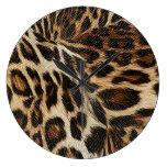 Spiffy Leopard Spots Leather Grain Look Clock