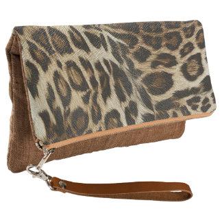 Spiffy Leopard Spots Leather Grain Look Clutch