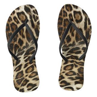 Spiffy Leopard Spots Leather Grain Look Flip Flops