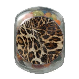 Spiffy Leopard Spots Leather Grain Look Jelly Belly Candy Jar