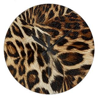 Spiffy Leopard Spots Leather Grain Look Large Clock