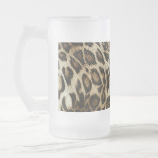 Spiffy Leopard Spots Leather Grain Look 16 Oz Frosted Glass Beer Mug