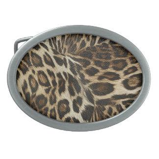 Spiffy Leopard Spots Leather Grain Look Oval Belt Buckle