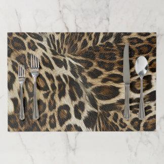 Spiffy Leopard Spots Leather Grain Look Paper Placemat