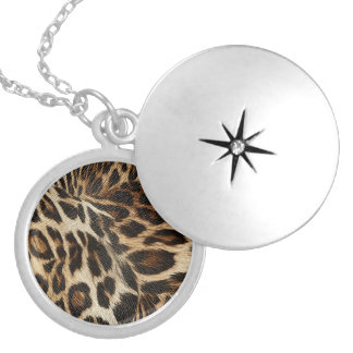Spiffy Leopard Spots Leather Grain Look Silver Plated Necklace