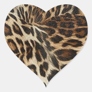 Spiffy Leopard Spots Leather Grain Look Heart Sticker