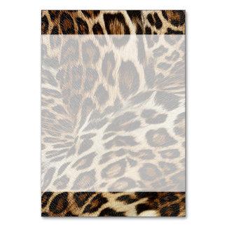 Spiffy Leopard Spots Leather Grain Look Table Cards
