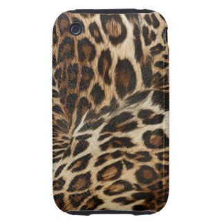 Spiffy Leopard Spots Leather Grain Look Tough iPhone 3 Case