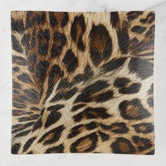 Spiffy Leopard Spots Leather Grain Look Trinket Trays