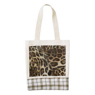 Spiffy Leopard Spots Leather Grain Look Zazzle HEART Tote Bag