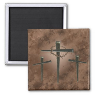 dryfhout spike cross and crown of thorns magnet